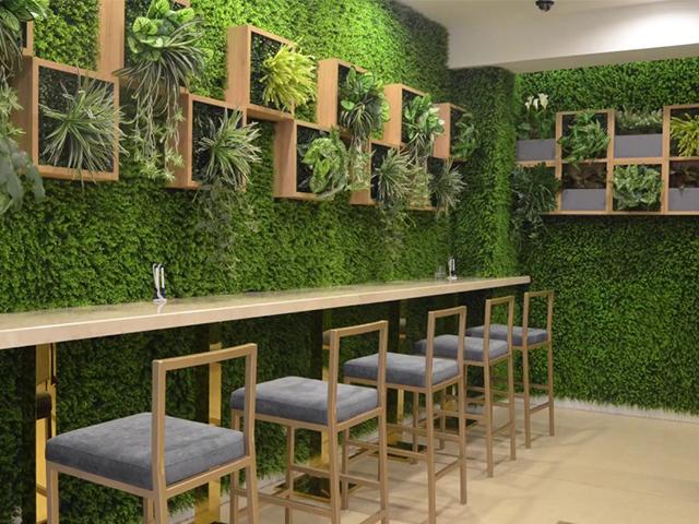 mẫu trang trí tường bằng cỏ nhân tạo