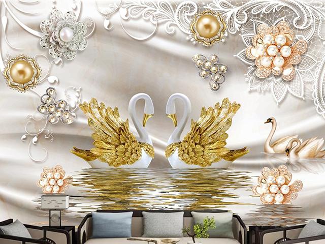 Tranh dán tường 3D hình hoa đẹp