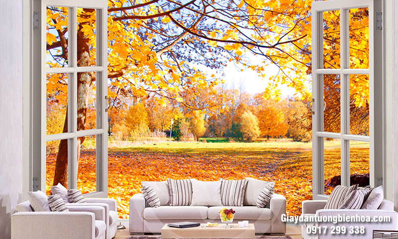 Tranh dán tường 3D mùa thu đẹp
