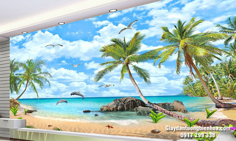 Chọn mua tranh dán tường 3D phong cảnh biển giá rẻ
