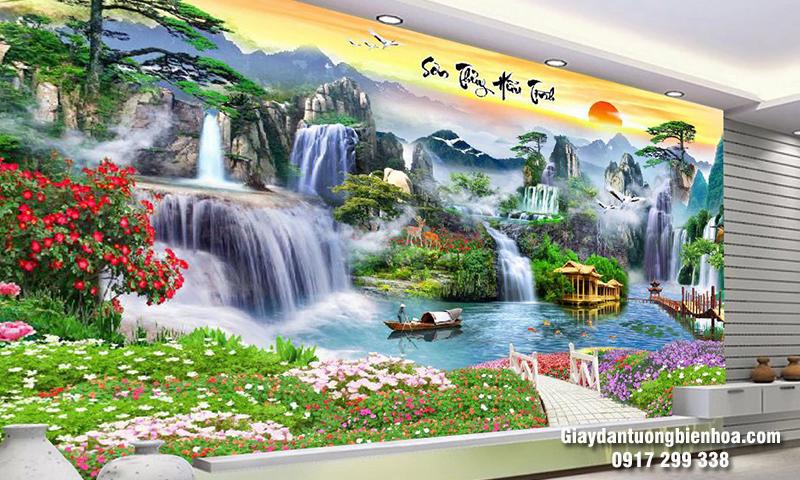 Mẫu tranh dán tường 3d sơn thủy đẹp